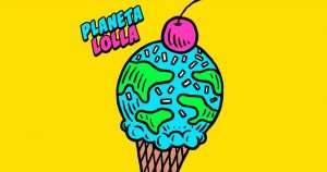 Imagem de fundo amarelo escrito planeta lolla com desenho de sorvete em forma de planeta